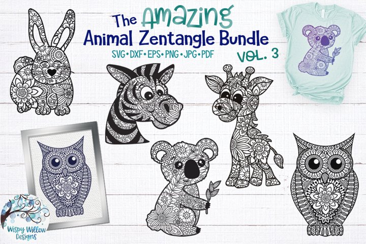 Amazing Animal Zentangle SVG Bundle Vol 3 | Animal Mandalas