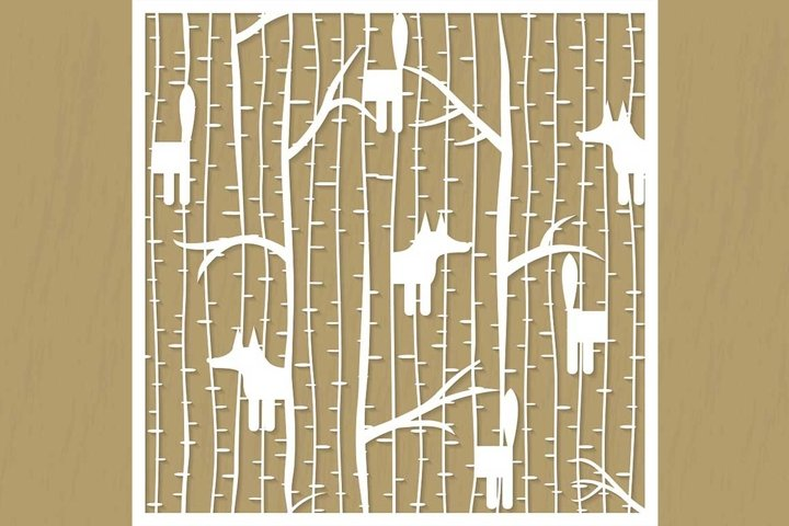 Fox in forest cutting pattern