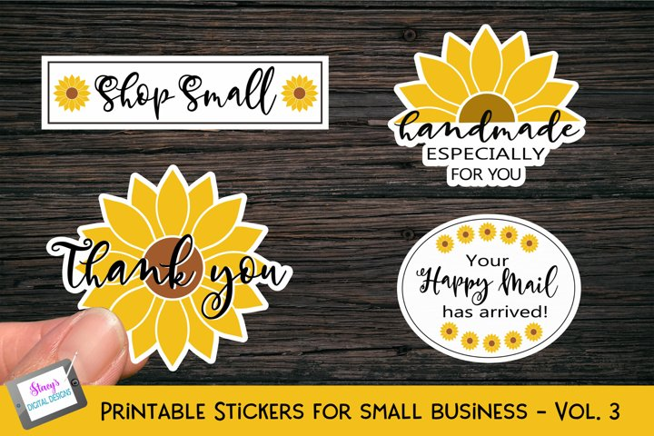 Printable Small Business Stickers Vol 3 - Sunflowers