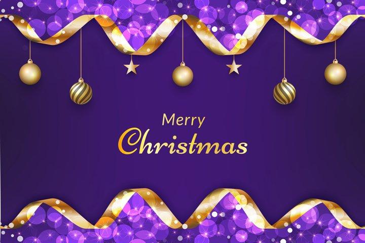 Purple christmas background with gold ribbon, glitter bokeh