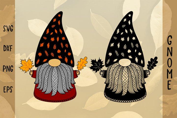 Autumn Gnome SVG,Fall Gnome SVG,Laser cut file SVG,Leaves