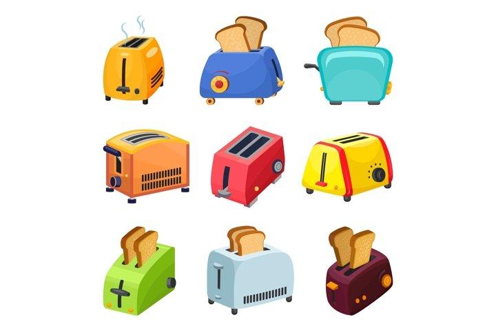 Toaster icons set, cartoon style