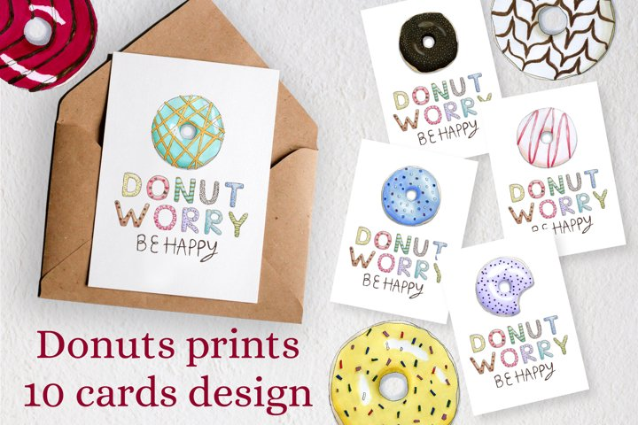 10 greeting cards with colorful donuts for printing