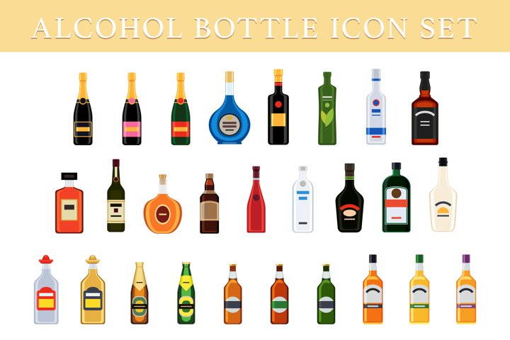 Different bottles of alcohol drinks