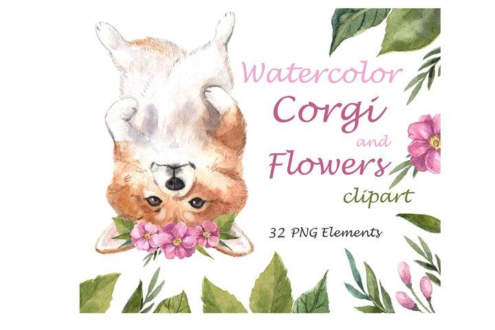 Watercolor Clipart. Watercolor cute corgi and flowers art