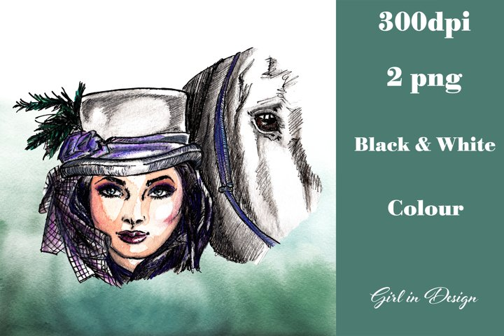 Girl in a Hat with a Horse Clipart