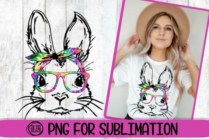 Bunny - Bandana - Easter PNG - Tye Dye - 300 DPI Sublimation