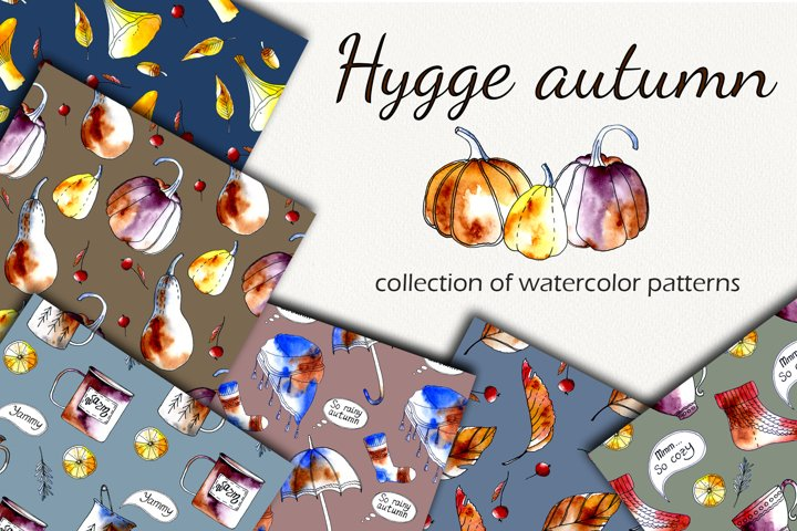 Watercolor collection Hygge autumn