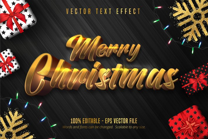 Merry Christmas text, shiny gold christmas style text effect
