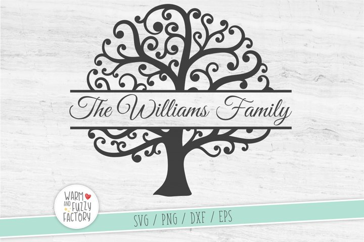 Split monogram tree svg, Family tree svg, Family reunion svg