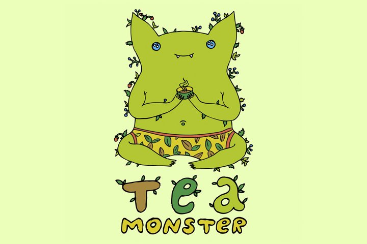 tea monster- ai, svg, png, jpg