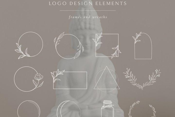 White Logo Elements, Frames and Borders. Spiritual. Crescent