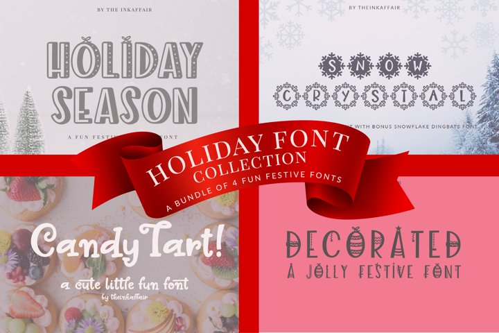 Holiday Font Bundle, Christmas Fonts