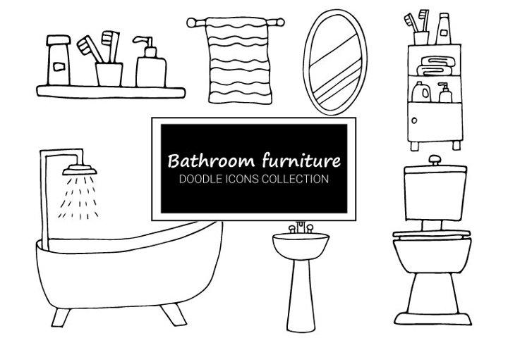 Bathroom furniture and utensils doodle illustrations set