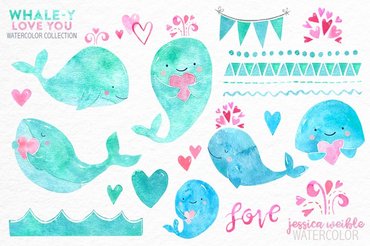 I Whale-y Love You Valentine Watercolor Collection