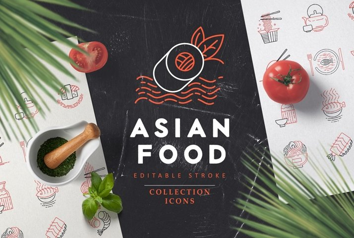 Asian food icons & logo
