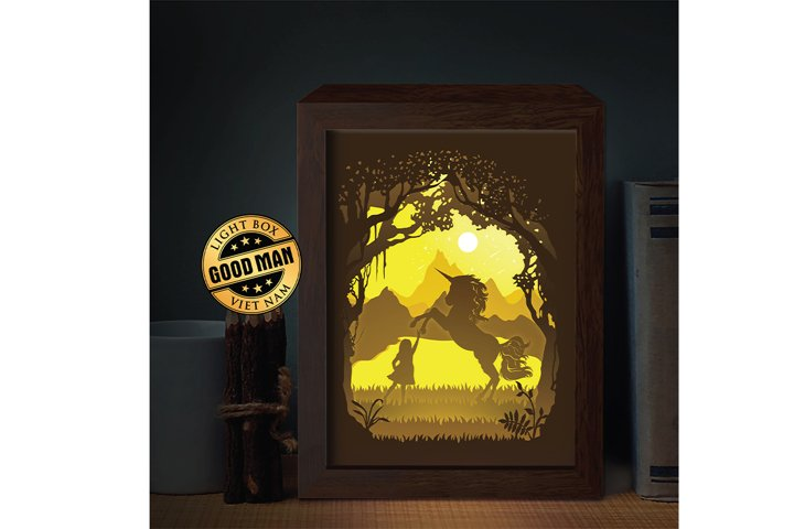 Unicorn 3D Paper Cutting Light Box - Shadow Box
