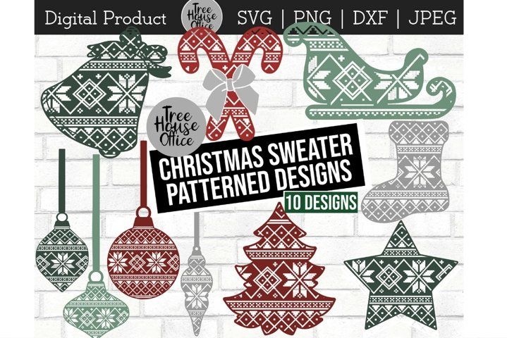 Ornaments with Ugly Christmas Sweater Pattern PNG SVG JPG