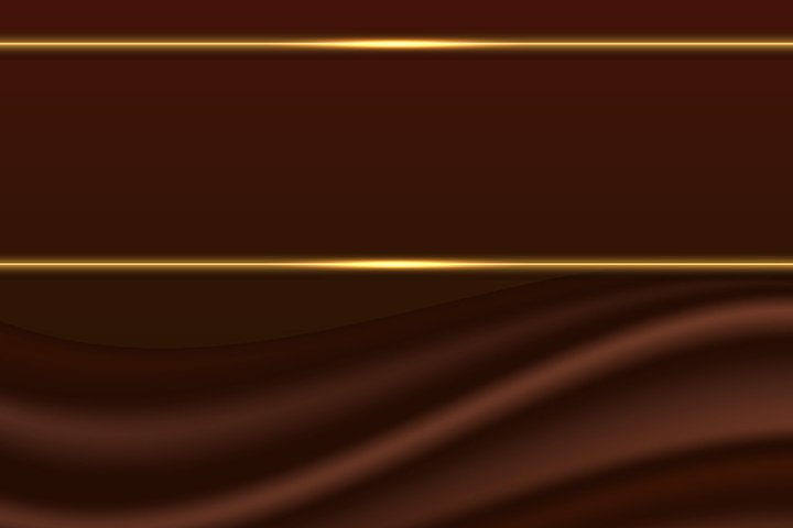 Chocolate background with silk curtain and gold glow borders