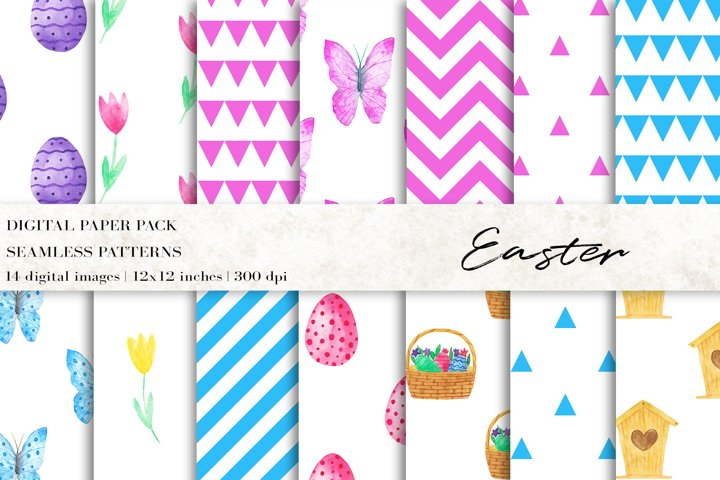 Watercolor Easter Digital Papers