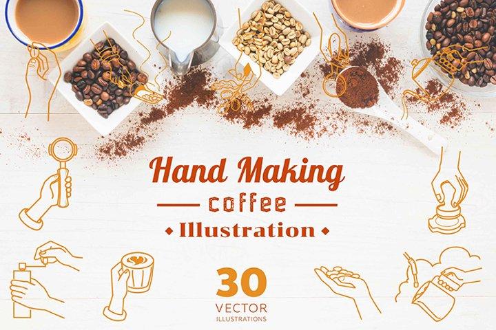 hand making coffee illustration