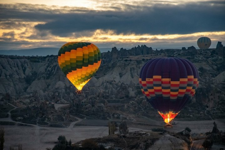Cappadocia balloons in sunrise. Adventure travel wall art