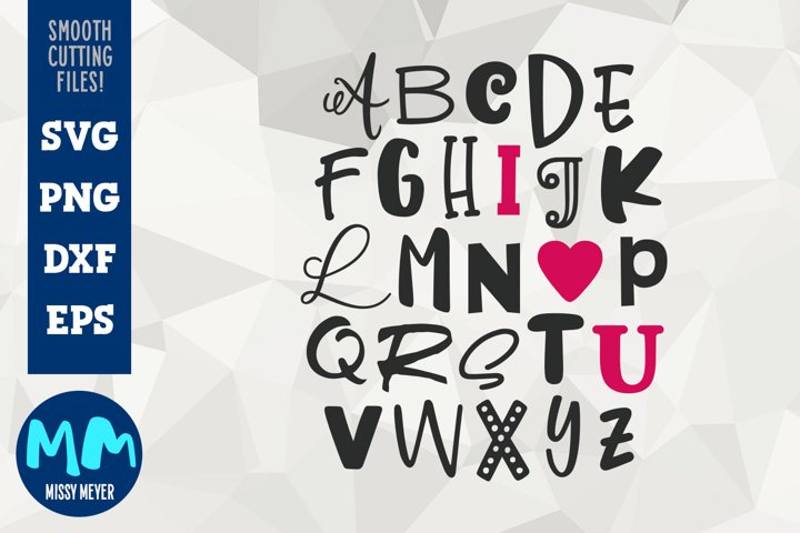 I Heart U - Alphabet Word Art from Missy Meyer fonts!