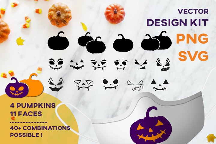 Halloween Pumpkin Face Mask SVG Design KIT Sublimation
