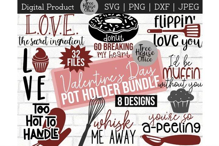 Valentines Day Cooking Kitchen Bundle SVG, Pot Holder PNG