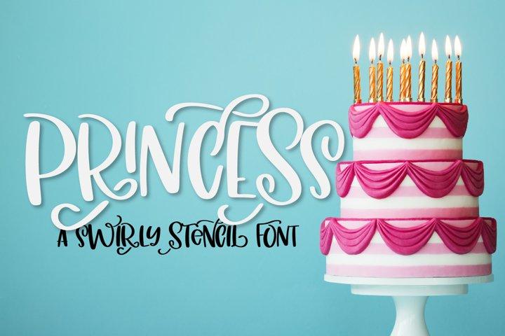 Princess - A Fancy Pants Stencil Font!