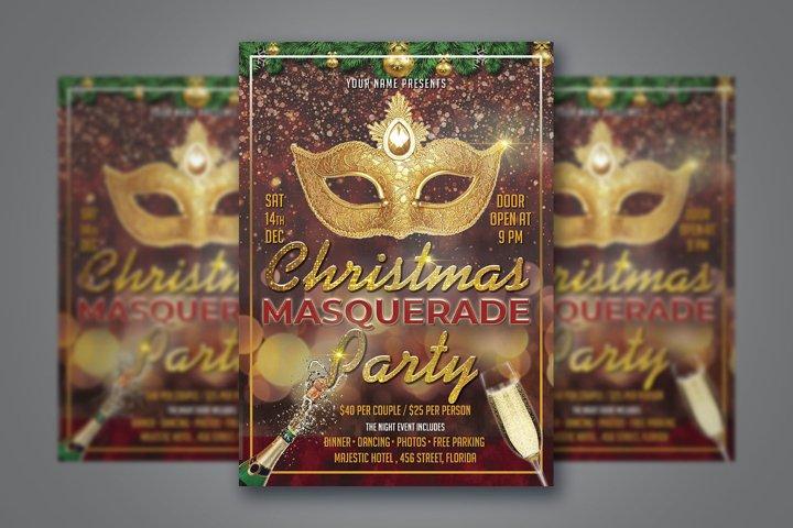 CHRISTMAS MASQUERADE PARTY, masquerade party invitation