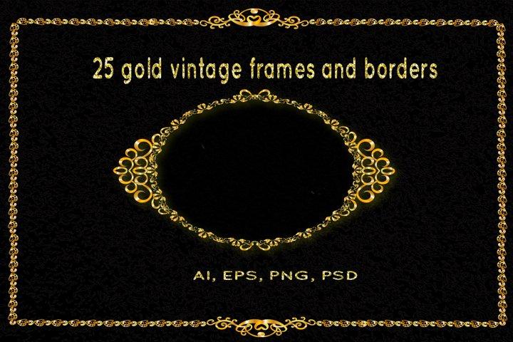 25 golden vintage frames, monogram