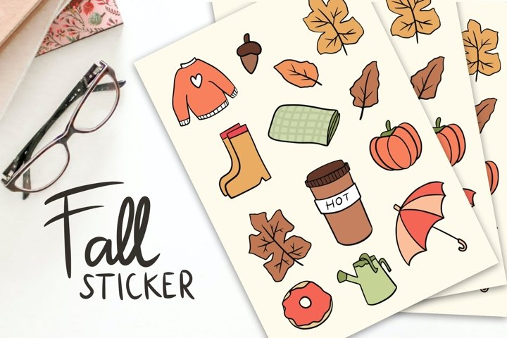 Fall Stickers with Cutting Line
