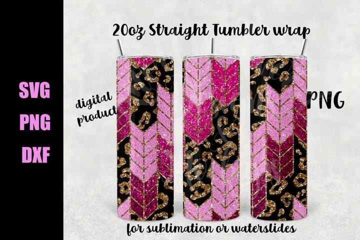 Leopard Glitter Tangram tumbler wrap - Downloadable PNG
