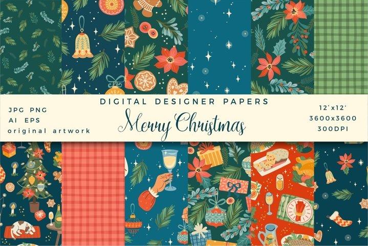Merry Christmas. 12 digital designer papers