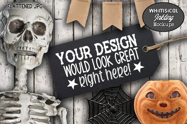 Skeleton and Black Tag Halloween Mockup example