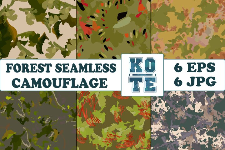 6 Seamless Military Forest Camouflage