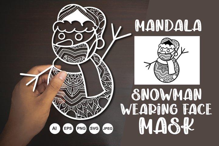 Mandala Snowman Wearing Face Mask SVG, AI, EPS, PNG