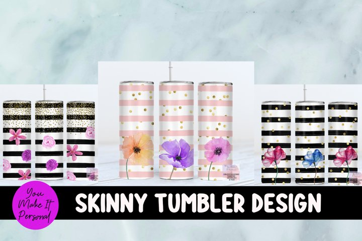 Skinny Tumbler Set, Stripe Design with Flowers and Glitter