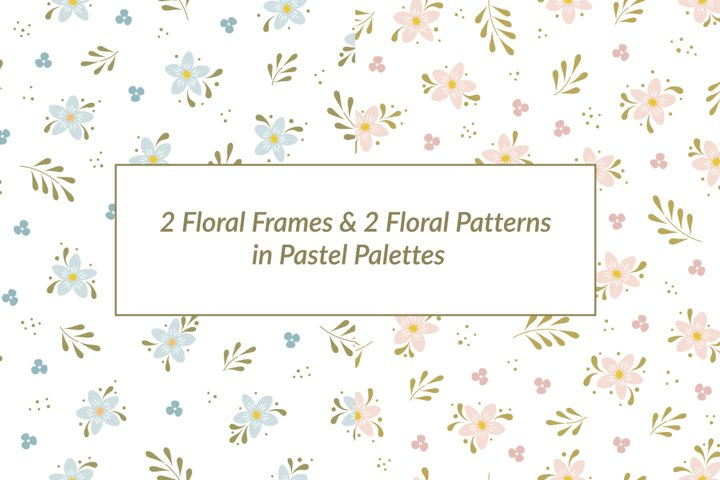 Floral Collection in Pastel Colors / Frames & Patterns