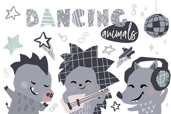 Dancing animals. Music kids vector