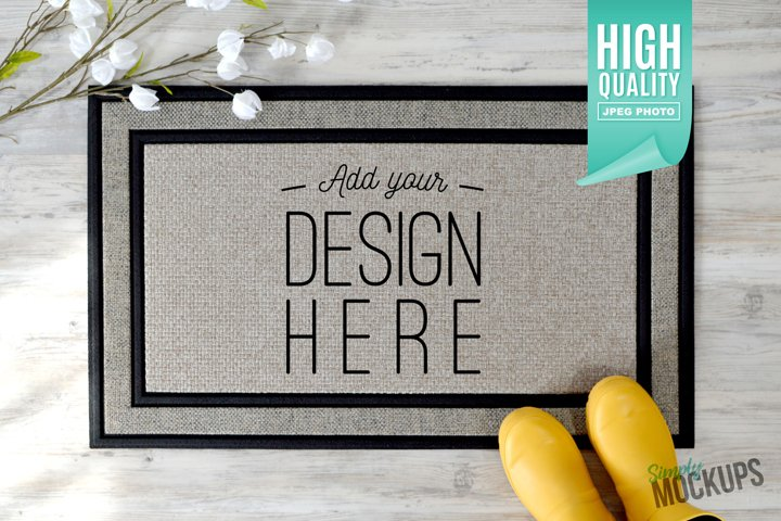Sublimation Doormat Mockup With Flowers & Shoes