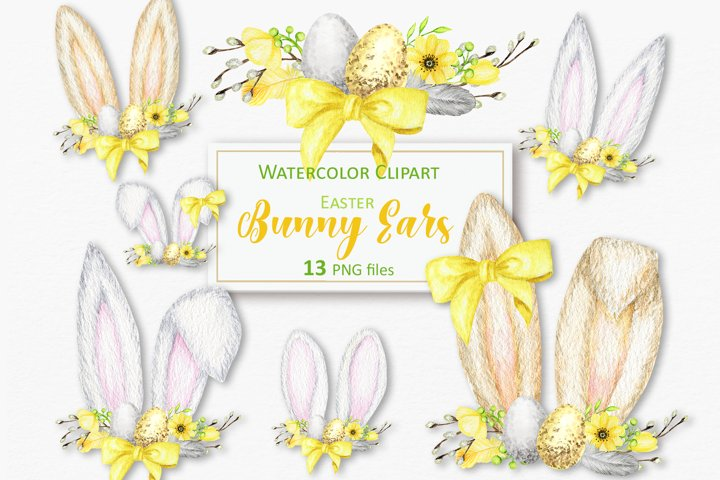 Easter Bunny ears Clipart, Watercolor Spring rabbit ears PNG