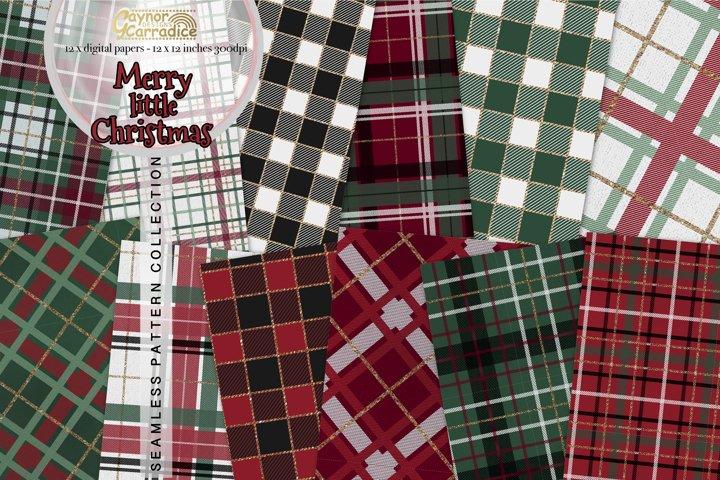 Merry Little Christmas plaid seamless patterns