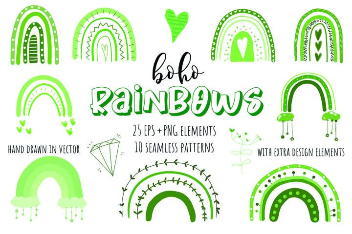 Cute Boho Rainbows Vector Collection. Green clipart