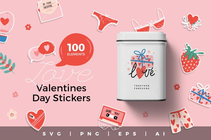 Valentine Day Stickers SVG, PNG, AI, EPS Bundle