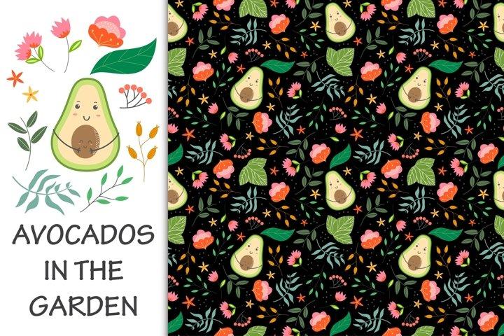 Seamless pattern avocados in the garden