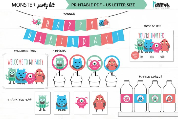 Monster party decorations, party printables, kids party