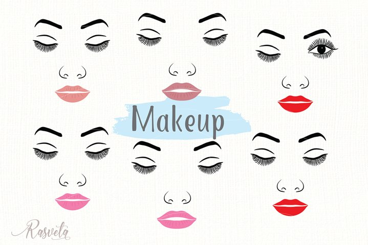 Make up svg Female Face Makeup Eyelashes Eyes Lips /8