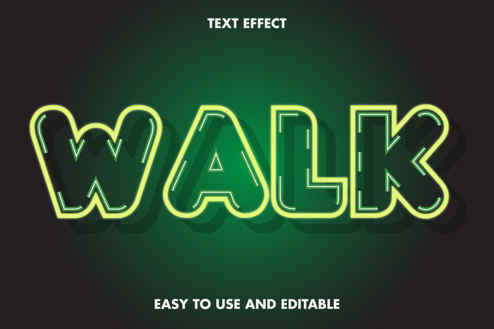 Walk text effect. editable and easy to use. premium vector